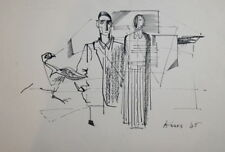 1985 ABSTRACT INK PAINTING CUBIST FIGURES SIGNED