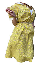 Vintage 1930s 40s Cotton Floral Volup Dress Yellow Day Dress Land Girls