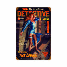 Real Life Detective Stories thriller PIN UP VINTAGE SIGN IN LAMIERA SCUDO SCUDO GRANDE