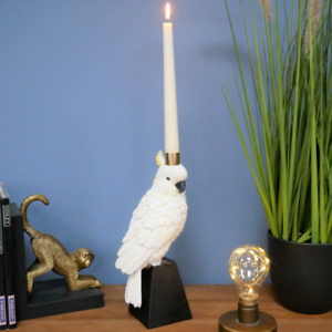 Pretty White Parrot On Stand Candlestick Taper / Dinner Candle Holder