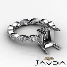 Diamond Engagement Miligrain Set Ring 18k White Gold Radiant Semi Mount 0.2Ct