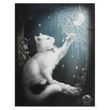 CAT CANVAS 'SNOW KITTEN' BY LINDA JONES KITTEN & SPIDER WEB MYTHICAL WALL ART