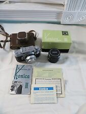 KONICA III 35MM RANGE FINDER CAMERA HEXANON LENS 1:2 F=48mm BOX PAPERWORK LOT
