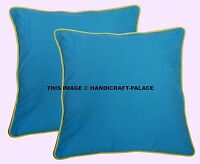 Indien Turquoise Solide Paire Coussin Coton Housse Luxe Canapé Oreiller Décor