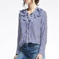 Banana Republic Elsie Flutter Blouse Womens Size Small Stripped Blue White EUC