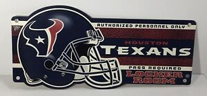 "Houston Texans NFL Football Locker Room Plastic Sign 9"" X 19"""