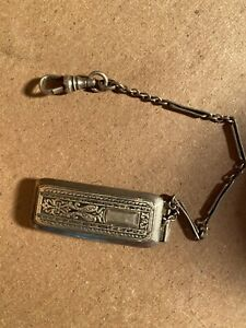 Vintage Wadsworth Quality Sterling Silver Pocket Watch Chain and Fob, Antique