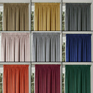 """VELOUR Montreal Luxury Soft Handle Lined 3"""" Tape Top Pair Of Ready Made Curtains"""