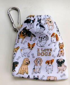 New Dog poo bag holder Dogs Mini I love dogs poo bag dispenser dog lover gifts