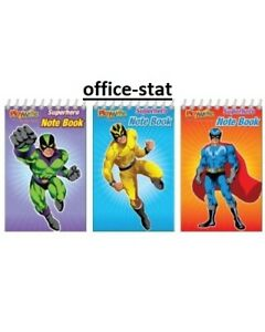 SUPERHERO Mini NOTEPADS Kids Boys Party Bag Fillers NOTEBOOK Loot