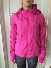 Lululemon Size 4 Run Hustle Jacket White Pink Micro Stripe Track Downtime Coat