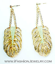Gold Tone Green Feather Banana Leaf Leaves Long Chain EARRINGS Fashion Jewelry