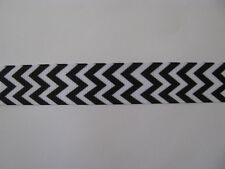 """chevron black white grosgrain ribbon 7/8"""" per 1 mtr hair scrapbooking cards"""