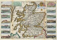 Map of Scotland Drawn by Daniel de la Feuille 1706, Reprint 12x8 inch