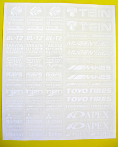 10th scale RC Drift racer sponsor logo WHITE on clear stickers decals