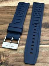 22MM BREITLING PREMIUM RUBBER ! NAVY BLUE WATCH STRAP + CHROME BUCKLE MENS BAND