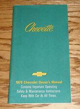 Original 1979 Chevrolet Chevette Owners Operators Manual 79 Chevy