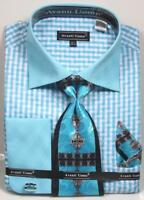 Men's Avanti Uomo Aqua Gingham Zig Zag Plaid Print Dress Shirt,Tie,Hanky, DN76M