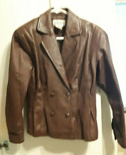 WOMEN'S BROWN LEATHER JACKET - MED
