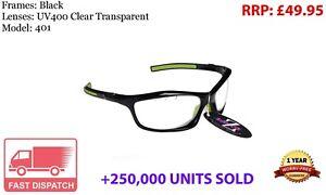 RayZor Black Sports Wrap Sunglasses Uv400 Vented Clear Transparent Lens