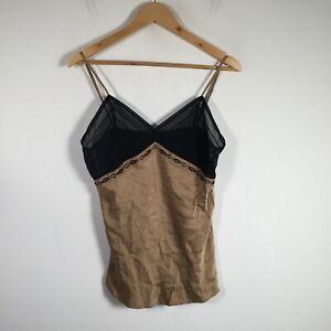 Elle Macpherson womens chemise cami singlet top size M silk blend beige black