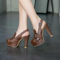 New Pumps Womens Slingbacks Vogue Buckle Round Toe Platform Heels Shoes
