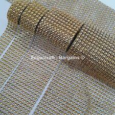 GOLD Diamante Bling Sparkling Diamond Effect Wedding Cake Craft Trim Ribbon