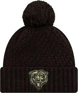 Chicago Bears New Era Hat Salute to Service Unisex Black Olive Cuffed Pom Beanie