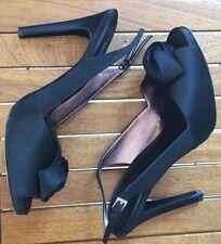 Ladies COAST Black Satin Slingback Peeptoe Rose Platform Heels UK8 Nearly New