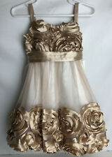 Bonnie Baby Baby Girls Holiday Party Dress Ivory Sheer Gold Rose Size 24 Month