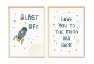 Set of 2 Rocket Nursery Prints Posters Pictures A4 PR132