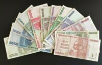 Zimbabwe from 50000 to  50 billion dollars banknotes full set used 12 notes
