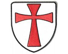 "(C27) KNIGHTS TEMPLAR CROSS SHIELD 3"" x 4"" iron on patch (4124) Religious Biker"