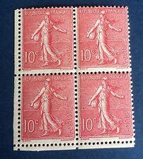 France N° 129c  10 C Rose Rouge TB Nuance Neuf ** TTB Nuance Côté  160€ +