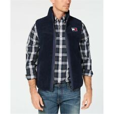 Tommy Hilfiger MenS Blue Full-Zip Vest Sherpa Fleece Logo...