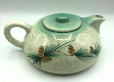 Vintage Mid-Century Ceramic Tea Pot Airbrushed Turquoise Aqua Blue Pinecones