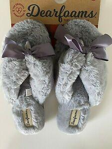 NEW Dearfoams Slippers Women's Spa Thong Gray Fluffy Fur S M L XL 6 7 8 9 10 11