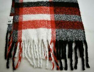 """Calvin Klein Knit Chunky Plaid Scarf Black Orange Gray Rectangle 76x20"""" NWT $58"""