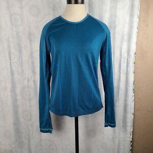 Mizuno Breath Thermo Blue Women's Long Sleeve Running Shirt Sz Med GUC