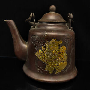 Chinese Antique Red copper Gilt Child & Fish Pattern Teapot Kang Xi W Mark