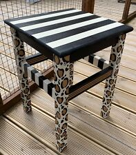 Stool,Table, Stripe, Leopard funky, hand painted, whimsical, Alice in Wonderland