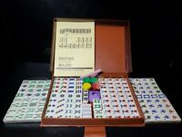 Vintage Mah-Jongg Mah Jong Chinese Game of Four Winds Game + Brown Travel Case