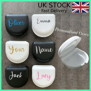 Personalised Retainer Case, Black/ White Gumshield Box Dentures Mouthguard Brace