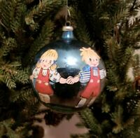 Vintage Raggedy Ann & Andy Christmas Ornament Blown Glass Made in Italy