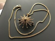 Point Star Brooch Pendant With 9ct Chain Antique 14ct Gold Natural Seed Pearl 12
