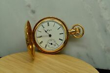 1891 ELGIN POCKETWATCH 13 JEWEL SIZE 0 FANCY 14K YELLOW GOLD HUNTER CASE