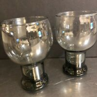 Libbey Stax Glassware Set 2 Smokey Gray Tumblers Mid Century Modern Made USA