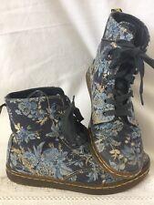 Doc Martens Hackney Blue Floral Canvas 8 Eye Boots Womens 6 Romantic Boho