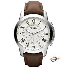 Fossil FS4735 Men's Quartz Grant Chronograph Dark Brown Leather Strap Watch