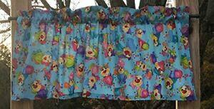 Dog Canine Rainbow Happy Pet Clown Puppy Bubbles Blue Curtain Valance